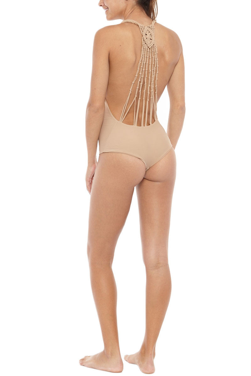 BETTINIS Macrame Open Back One Piece Swimsuit - Sand One Piece | Sand| Bettinis Macrame One Piece