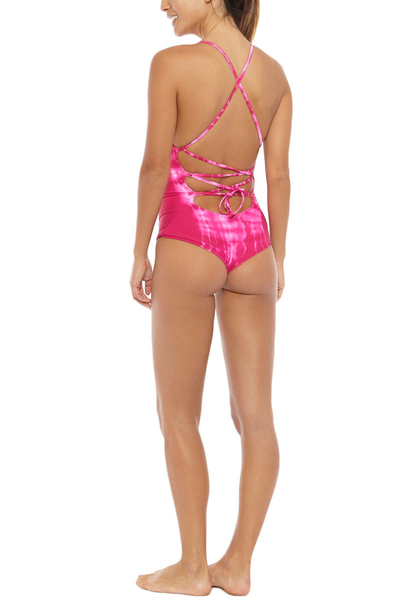 BETTINIS Lace-Up Back Cheeky One Piece Swimsuit - Pink Tie Dye One Piece | Tie Dye Pink| Bettinis Lace Up One Piece