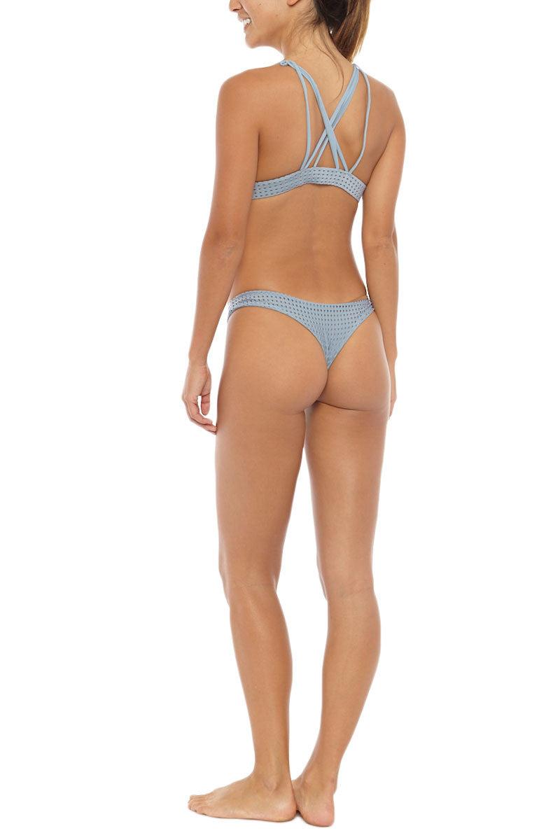 ACACIA Mesh Ho'okipa Bottom - Sky Grey Bikini Bottom | Sky Mesh| Acacia Mesh Ho'okipa Bikini Bottom And Top On Model Angled Rear View