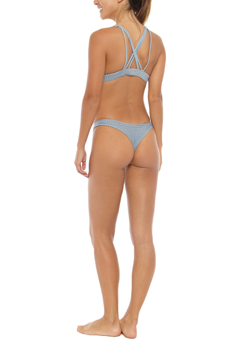 ACACIA Ho'okipa Mesh Bikini Bottom - Sky Grey Bikini Bottom   Sky Mesh  Acacia Mesh Ho'okipa Bikini Bottom And Top On Model Angled Rear View