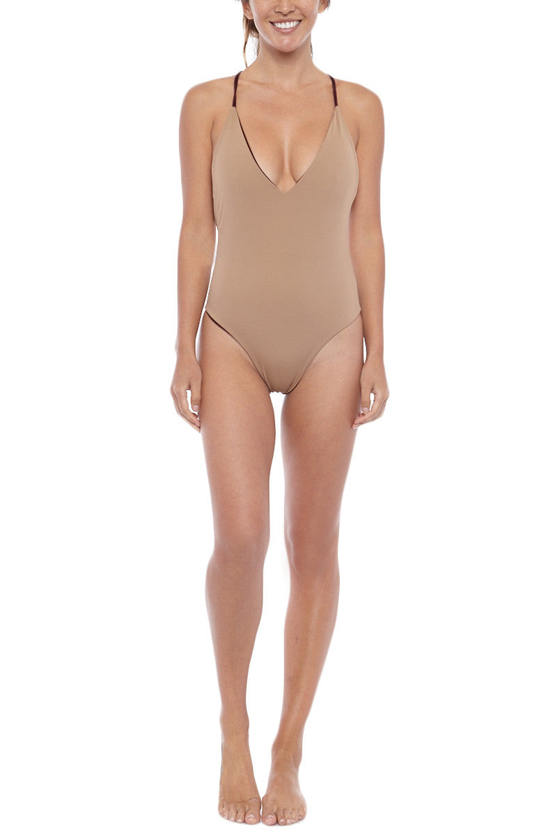 DBRIE Willi Reversible Plunging V One Piece Swimsuit - Velvet Amaretto / Lycra Latte One Piece | Amaretto/Lycra Latte | Dbrie Front View of Willi Reversible Plunging V One Piece