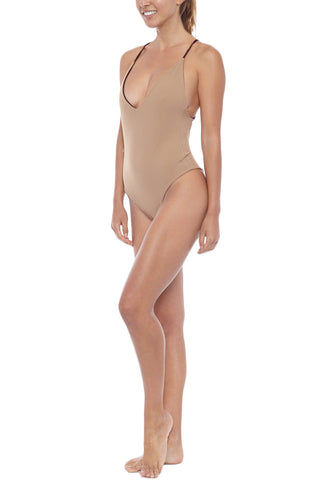 DBRIE Willi Reversible Plunging V One Piece - Velvet Amaretto / Lycra Latte One Piece | Amaretto/Lycra Latte| Dbrie Side View of Willi Reversible Plunging V One Piece
