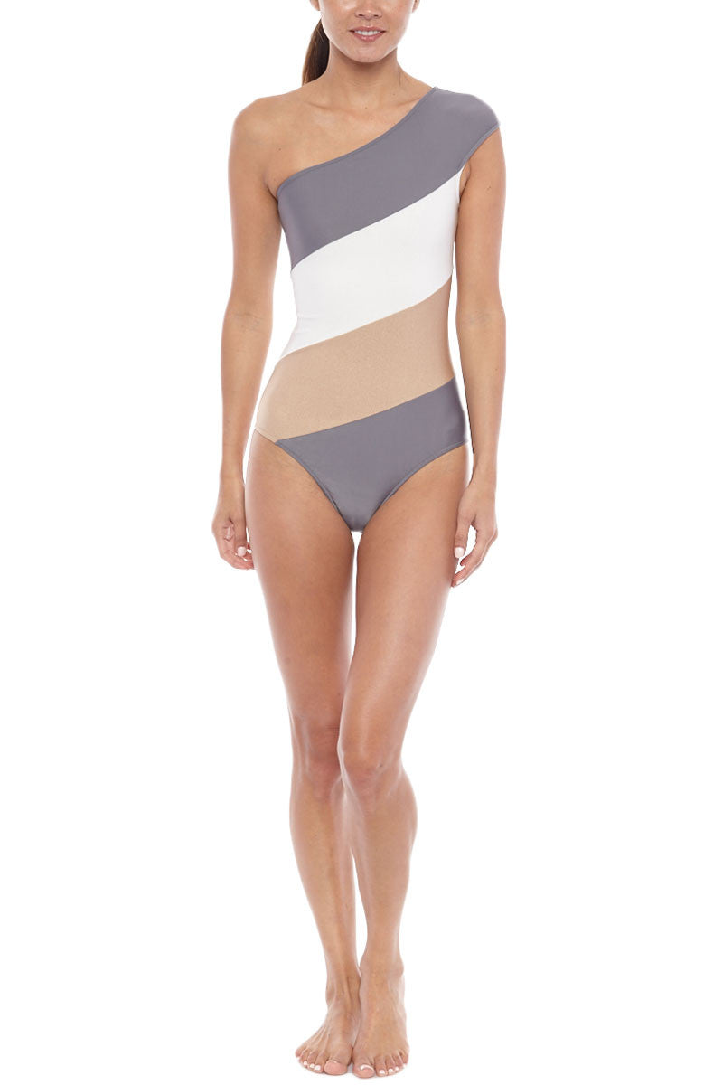 ADRIANA DEGREAS Tricolor Color Block One Shoulder One Piece Swimsuit - Zinc Grey Stripe Print One Piece | Zinc Grey Stripe Print| Adriana Degreas Tricolor Color Block One Shoulder One Piece Swimsuit - Zinc Grey Stripe Print One shoulder full coverage Front View