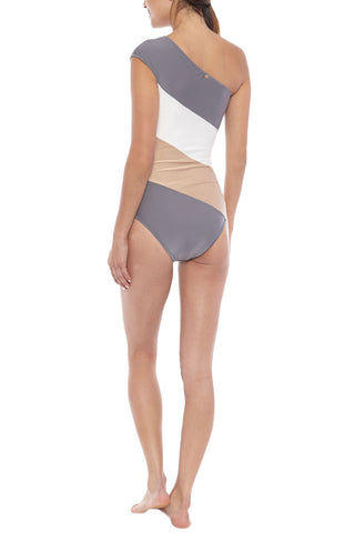 ADRIANA DEGREAS Tricolor Color Block One Shoulder One Piece Swimsuit - Zinc Grey Stripe Print One Piece | Zinc Grey Stripe Print| Adriana Degreas Tricolor Color Block One Shoulder One Piece Swimsuit - Zinc Grey Stripe Print One shoulder full coverage Back View