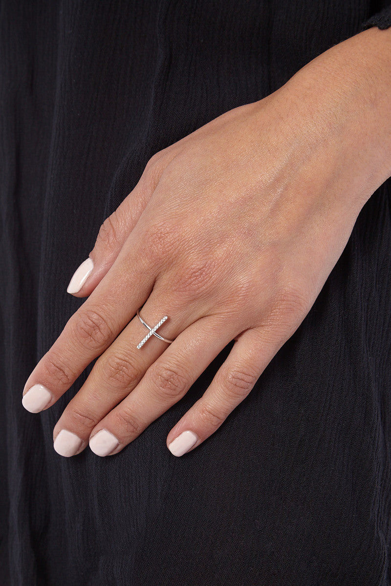 JEWEL CULT Pave Crystal Bar Ring Jewelry   Silver  Jewel Cult Pave Crystal Bar Ring