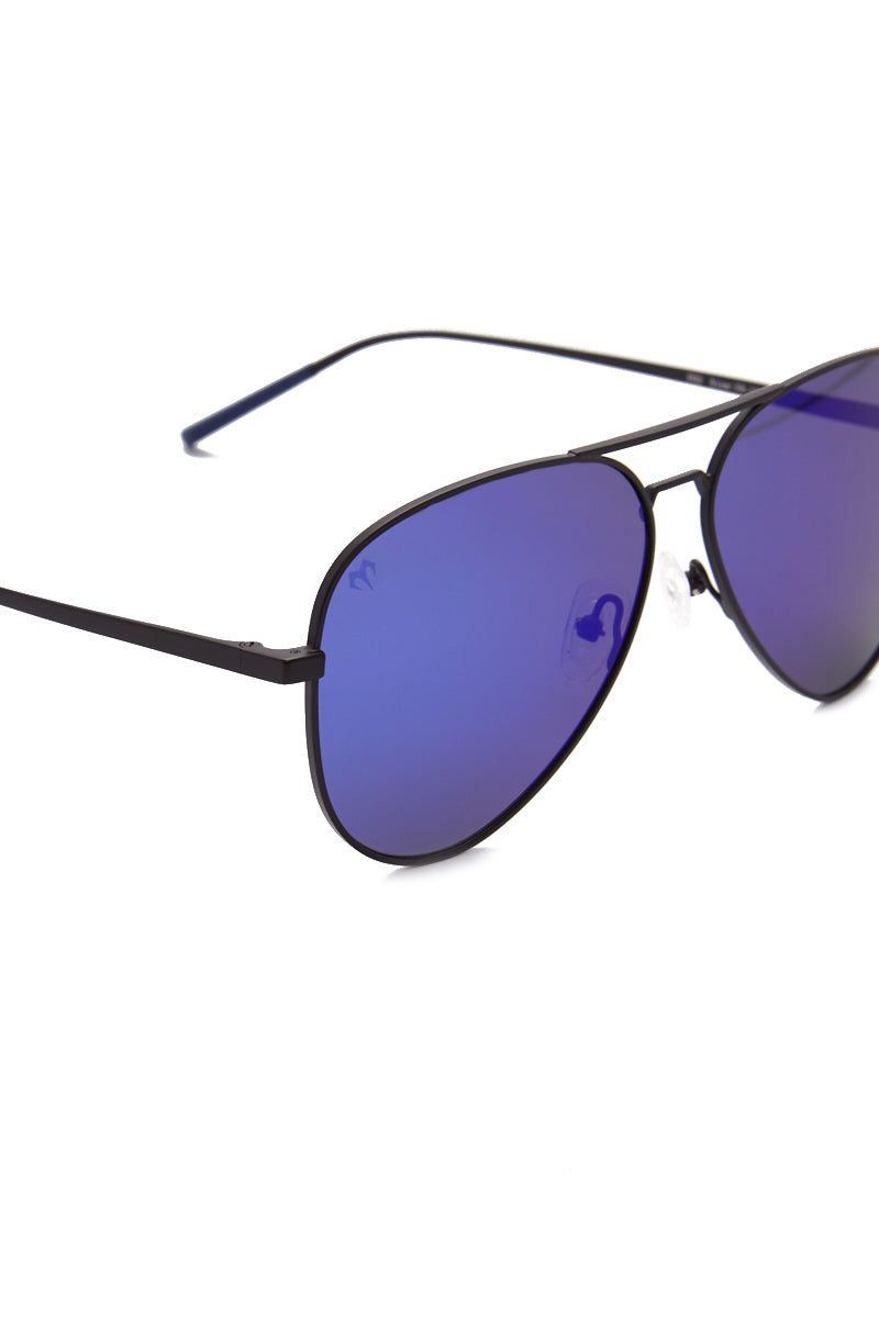 MARSQUEST INC. Force Sunglasses - Black/Marine Blue Sunglasses |  Black/Marine Blue| Marsquest Inc. Force Sunglasses - Black/Marine Blue Unisex Front width: 147 mm, height: 52.5 mm Polarized lenses Premium Titanium and stainless steel mount Flex technology adaptable to all shapes of faces Front View