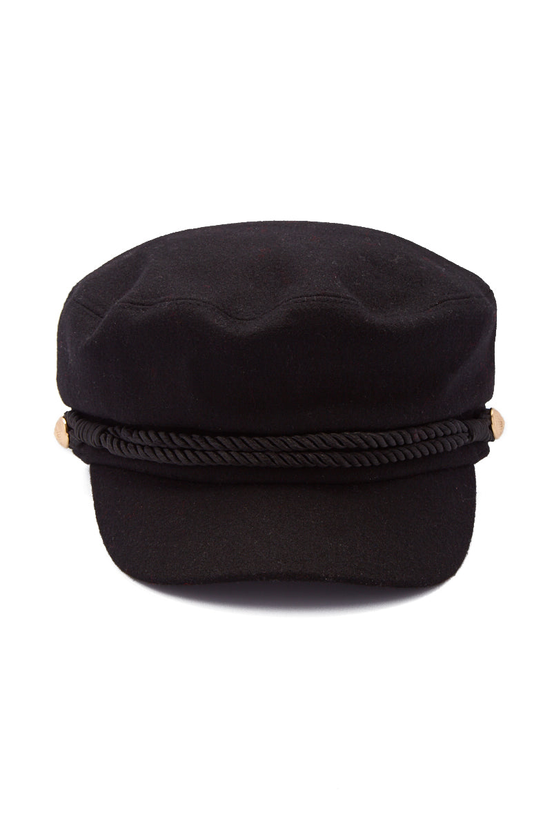 HAT ATTACK Emmy Wool Captain's Cap - Black Hat | Black| Hat Attack Emmy Wool Cap Casually cute black wool cap with embossed gold button accents. Front View