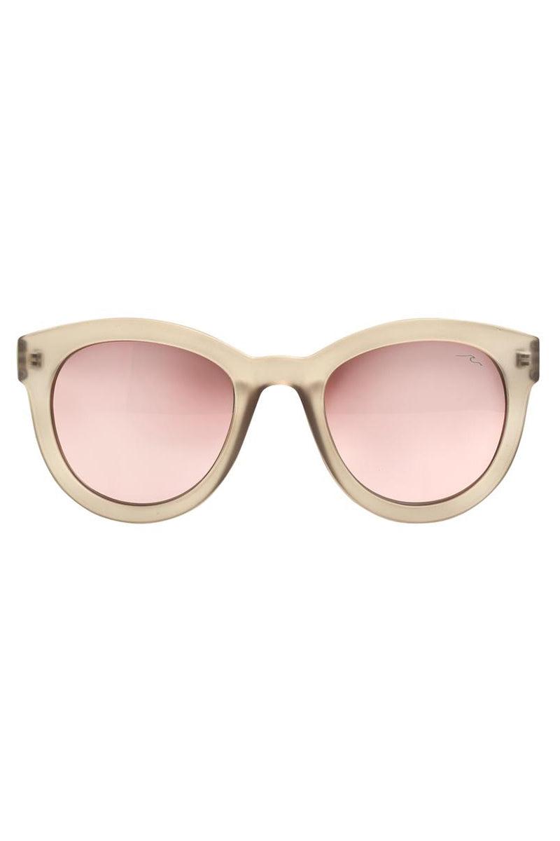 YSHEY Kathy Capri Sunnies Sunglasses | Light Pink| Yshey Kathy Capri Sunnies Front View versized round pink women's sunglasses with thick beige frames.