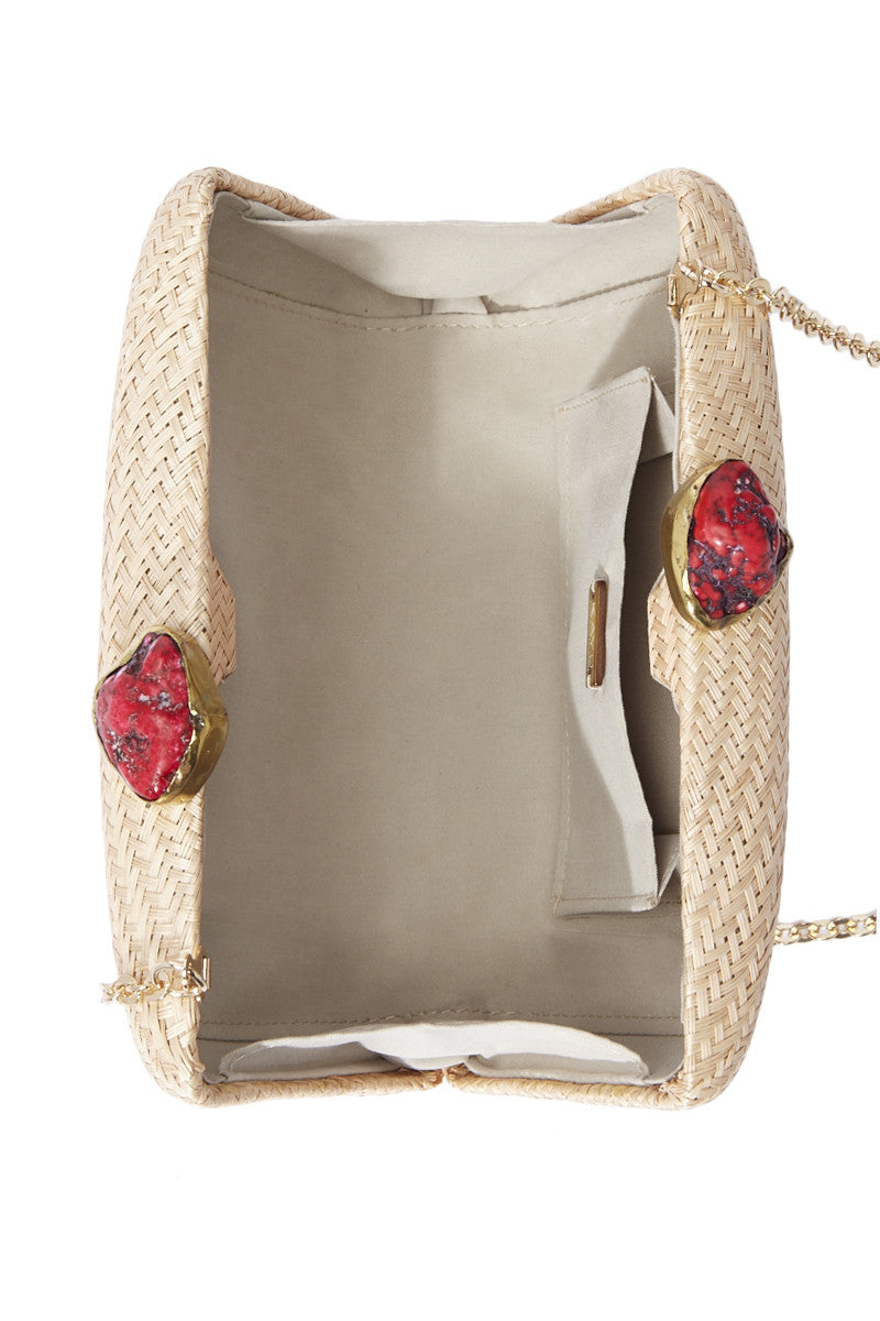 KAYU Jen Clutch With Red Stone - Toast Bag   Toast  Kayu Jen Clutch With Red Stone - Toast