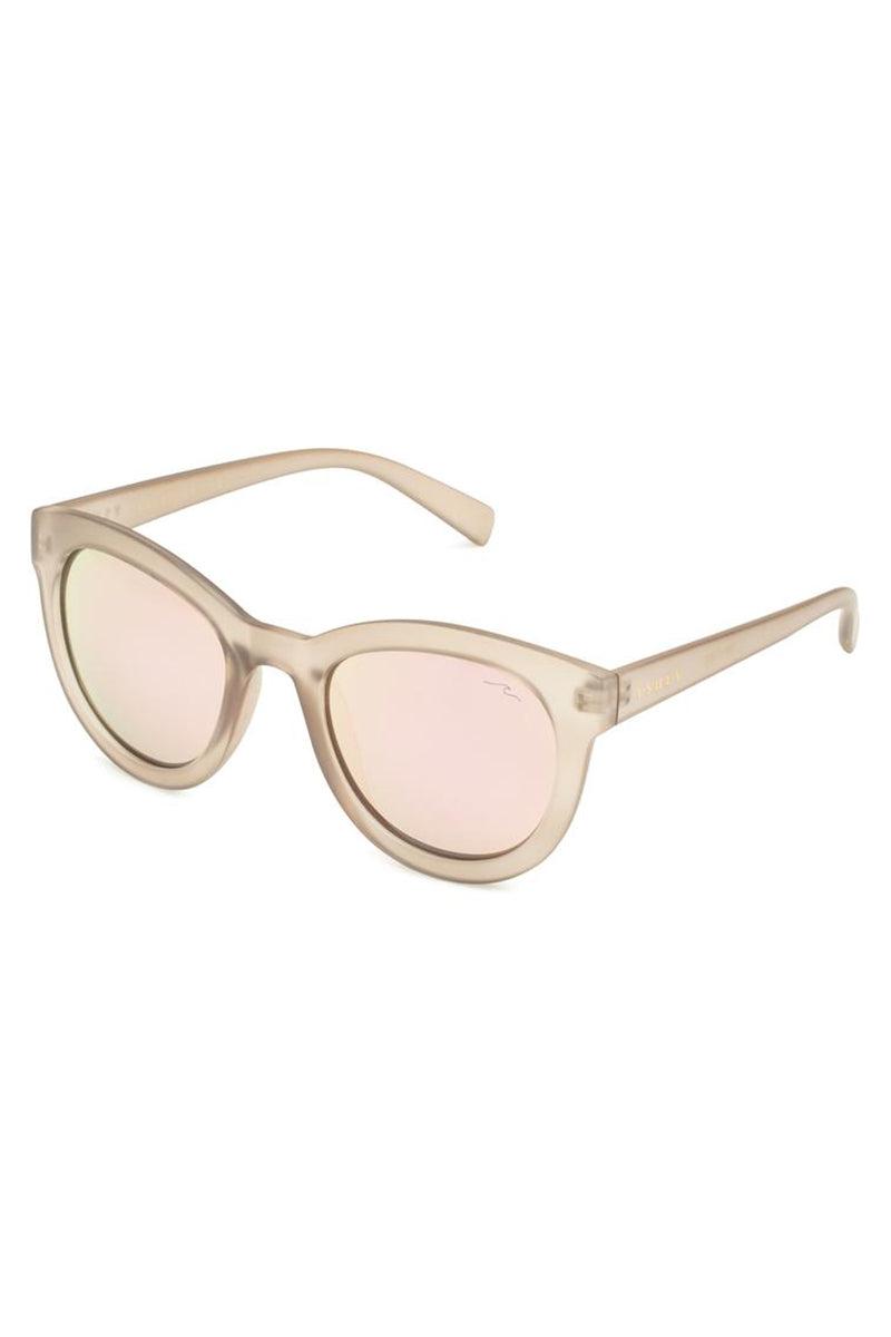 YSHEY Kathy Capri Sunnies Sunglasses | Light Pink| Yshey Kathy Capri Sunnies Side View versized round pink women's sunglasses with thick beige frames.