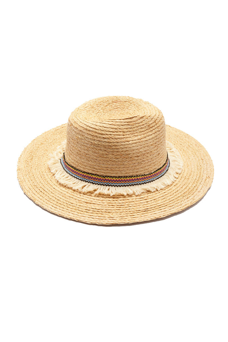HAT ATTACK Raffia Braid Continental Straw Sun Hat - Natural Hat | Natural| Hat Attack Raffia Braid Continental Hat Straw Hat  Braided Multicolor Ribbon Around Base of Hat  Fringe Detail