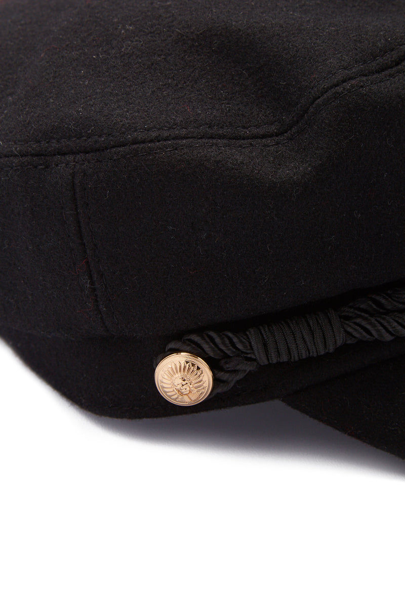 HAT ATTACK Emmy Wool Captain's Cap - Black Hat | Black| Hat Attack Emmy Wool Cap Casually cute black wool cap with embossed gold button accents. Close Up View