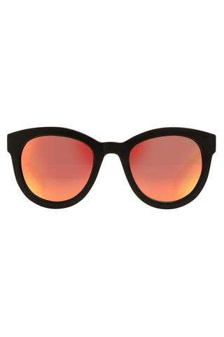 YSHEY Kathy Corfu Sunnies Sunglasses | Red Orange| Yshey Kathy Corfu Sunnies Front View Oversized round unisex sunglasses with thick black frames.
