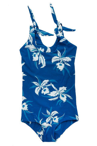 MIKOH MINI Chuns Reef One Piece Kids One Piece | Hawaii Hula Breeze| Mikoh Mini Chuns Reef One Piece Kids One Piece Swimsuit Vibrant Blue Hawaiian Tropical Floral Print Adjustable Shoulder Ties Seamless Fabric Hardware-Free Full Rear Coverage