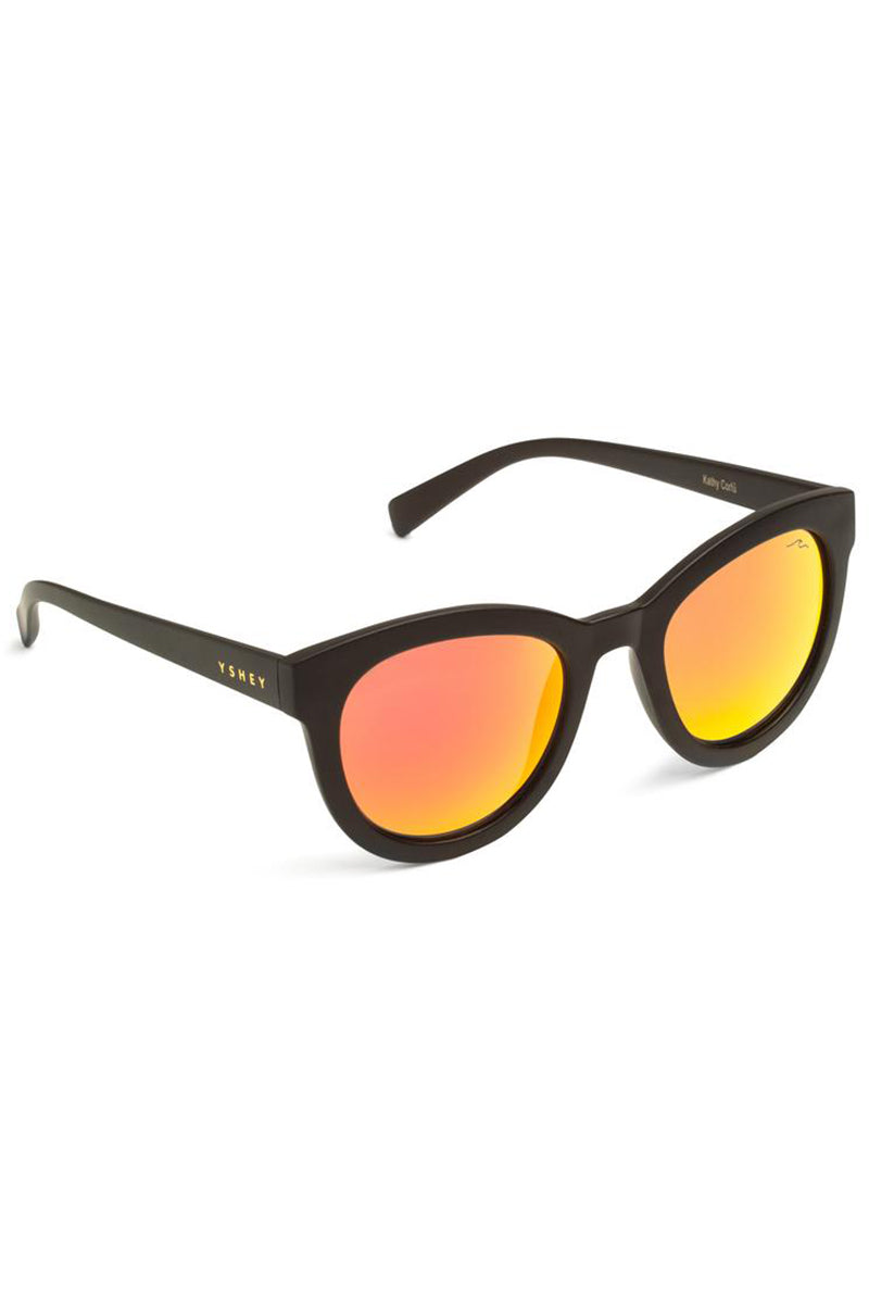YSHEY Kathy Corfu Sunnies Sunglasses | Red Orange| Yshey Kathy Corfu Sunnies Side View Oversized round unisex sunglasses with thick black frames.