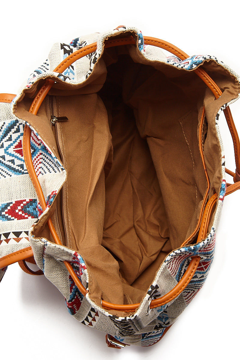 BEACH GYPSY'S Large Bohemian Jacquard Backpack - Serape Aztec Print Bag   Serape Aztec Print  Beach Gypsy's Bohemian Backpack - Serape Aztec Print Versatile jacquard texture leather trim buckle closure backpack with a pull closure. Eye-catching multicolor geometric abstract printed thick jacquard fabric Front View