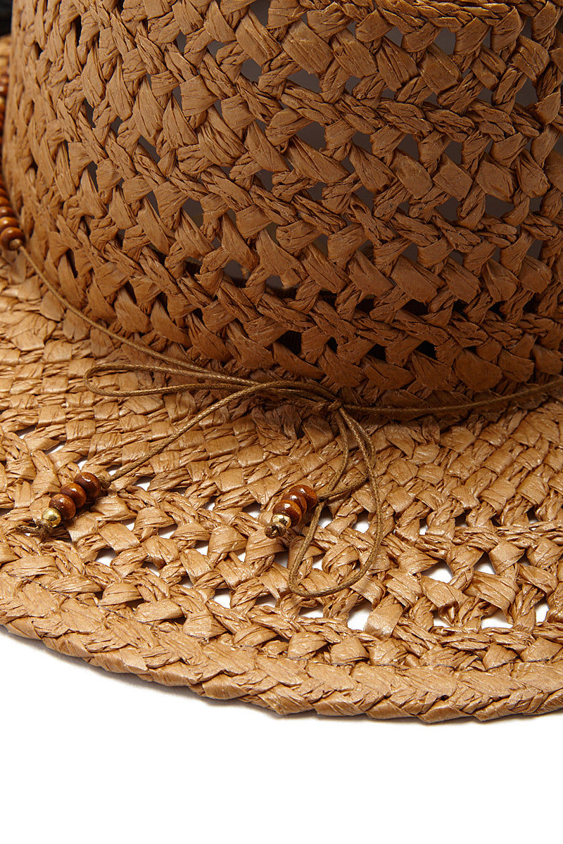 HAT ATTACK Straw Cane Rancher Hat With Tassels - Toast Hat | Toast| Hat Attack Cane Rancher Hat Straw Hat  Beaded Detail with Tassels