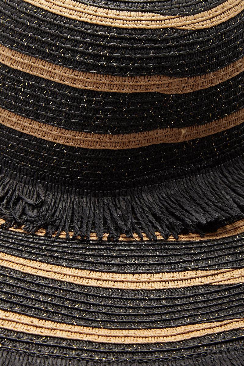 PIA ROSSINI Mykonos Hat Hat   Black/Sand  Pia Rossini Mykonos Hat Floppy Hat Wide Brim Fringed Straw Detail Black and Tan Stripes