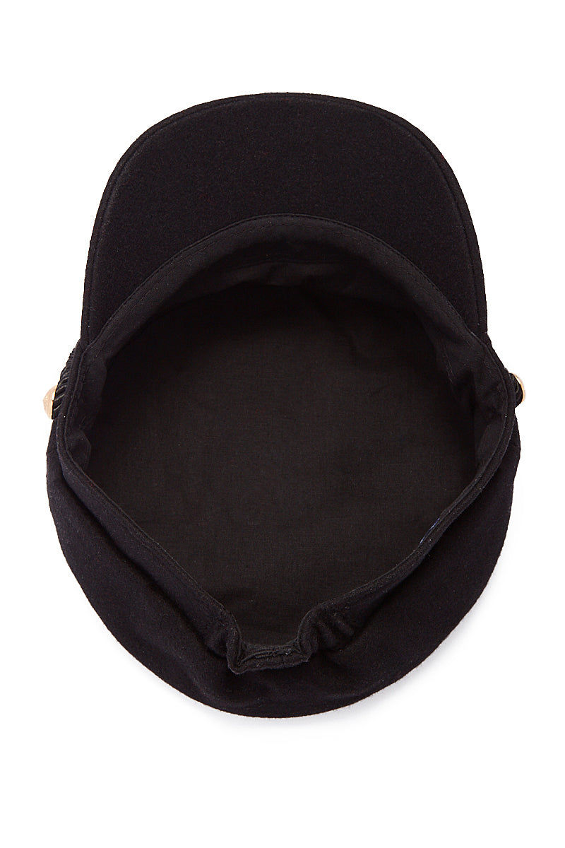 HAT ATTACK Emmy Wool Captain's Cap - Black Hat | Black| Hat Attack Emmy Wool Cap Casually cute black wool cap with embossed gold button accents. Under View