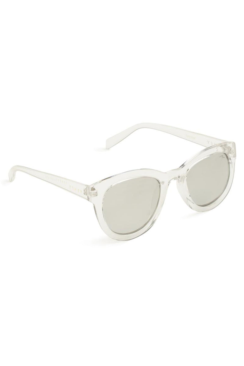 YSHEY Kathy Ibiza Sunnies Sunglasses | White| Yshey Kathy Ibiza Sunnies Side View Oversized round women's sunglasses with thick white frames.