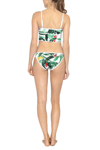 DUSKII Oasis Moderate Bikini Bottom - Palma Green Tropical Print Bikini Bottom | Palma Green Tropical Print | Duskii Oasis Moderate Bikini Bottom - Palma Green Tropical Print * White and green tropical paradise printed hipster bikini bottom with white trim. * Flatlock stitched seams make these bottoms ultra comfortable. * Hipster waistband and moderate back coverage offer a sporty fit. Back View