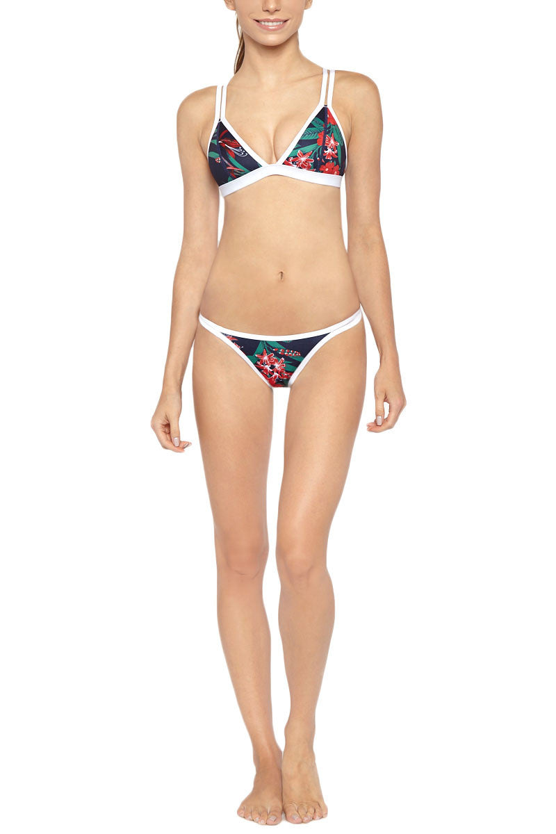 DUSKII Double Strap Triangle Bikini Top - Maui Blue Tropical Print Bikini Top   Maui Blue Tropical Print  Duskii Double Strap Triangle Bikini Top - Maui Blue Tropical Print Deep navy blue tropical print triangle bikini top with contrasting white trim. Beautiful deep blue with bold red and green tropical flower printed neoprene fabric will have you dreaming of exotic locations and emerald waters. Flatlock stitched seams make these bottoms ultra comfortable. A supportive underbust band and light molded cups  Front View
