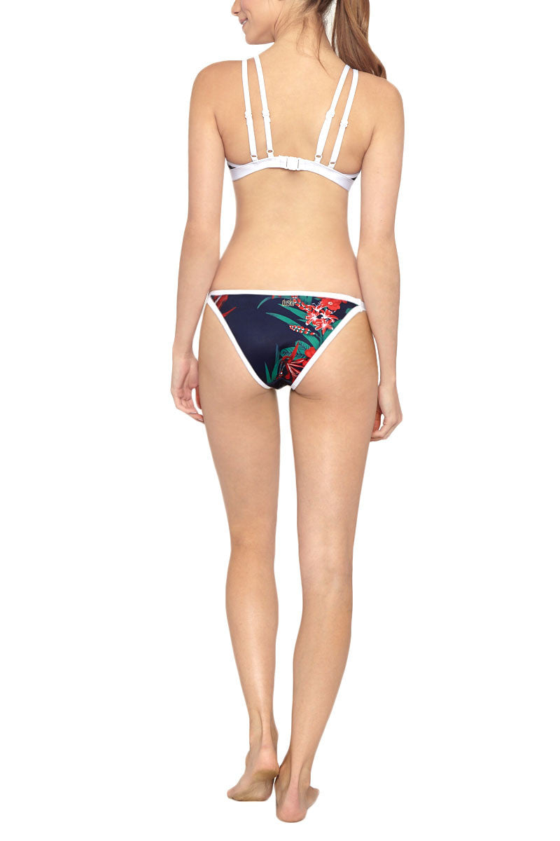DUSKII Double Strap Triangle Bikini Top - Maui Blue Tropical Print Bikini Top   Maui Blue Tropical Print  Duskii Double Strap Triangle Bikini Top - Maui Blue Tropical Print Deep navy blue tropical print triangle bikini top with contrasting white trim. Beautiful deep blue with bold red and green tropical flower printed neoprene fabric will have you dreaming of exotic locations and emerald waters. Flatlock stitched seams make these bottoms ultra comfortable. A supportive underbust band and light molded cups  Back View