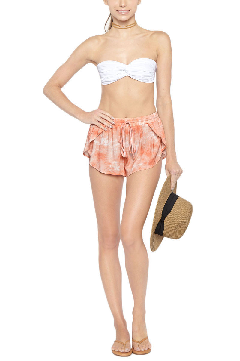 TORI PRAVER Delia Drawstring Shorts - Coral Dust Pink Tie Dye Print Shorts | Coral Dust Pink Tie Dye Print| Tori Praver Delia Drawstring Shorts - Coral Dust Pink Tie Dye Print Elastic drawstring waist Petal side opening 100% Rayon Front View