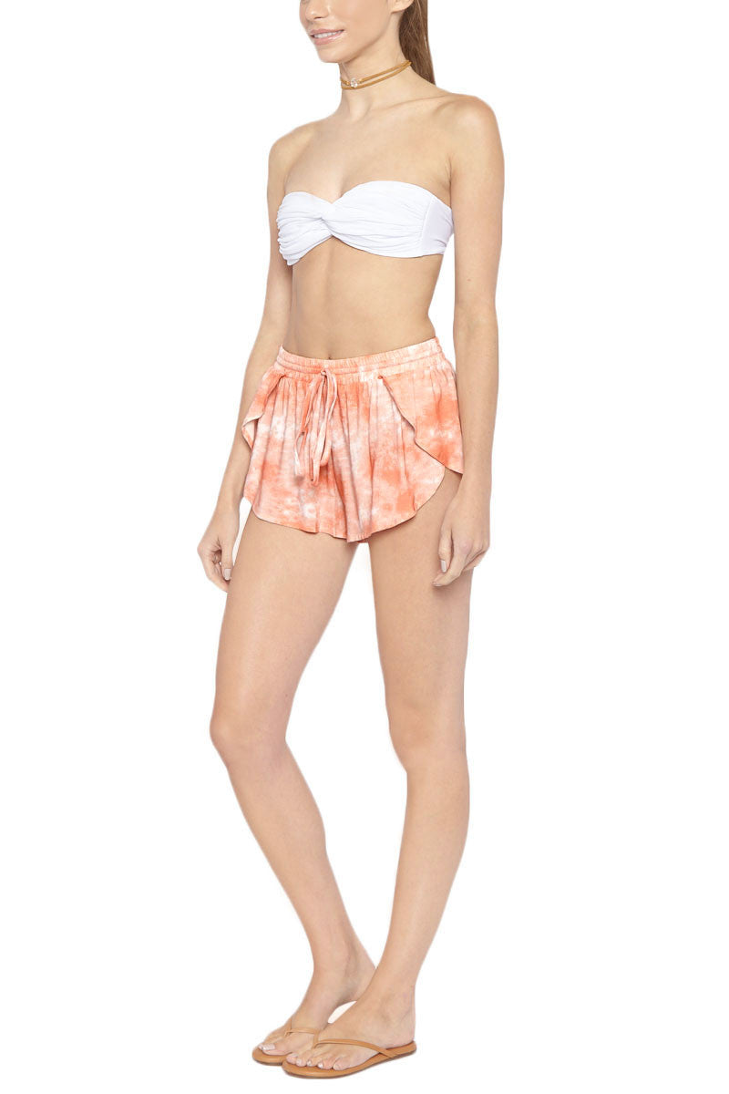 TORI PRAVER Delia Drawstring Shorts - Coral Dust Pink Tie Dye Print Shorts | Coral Dust Pink Tie Dye Print| Tori Praver Delia Drawstring Shorts - Coral Dust Pink Tie Dye Print Elastic drawstring waist Petal side opening 100% Rayon Side View
