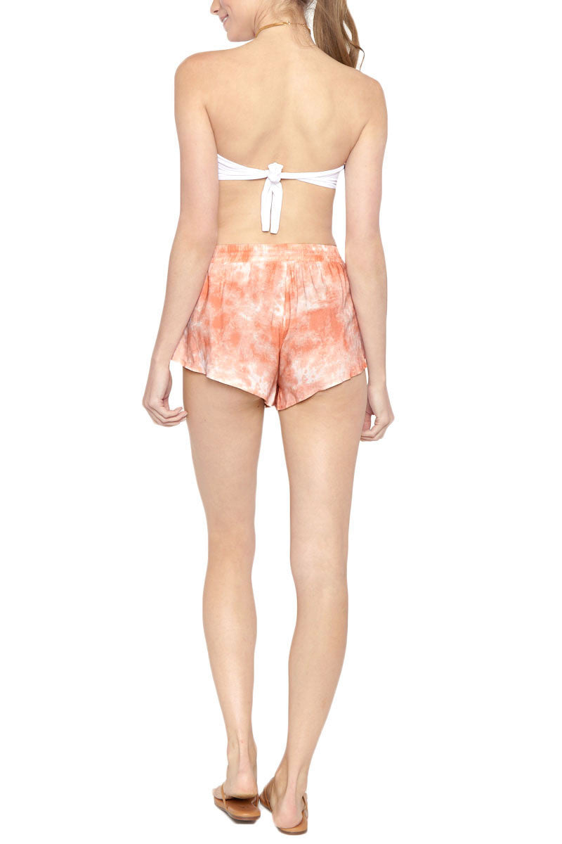 TORI PRAVER Delia Drawstring Shorts - Coral Dust Pink Tie Dye Print Shorts | Coral Dust Pink Tie Dye Print| Tori Praver Delia Drawstring Shorts - Coral Dust Pink Tie Dye Print Elastic drawstring waist Petal side opening 100% Rayon Back View