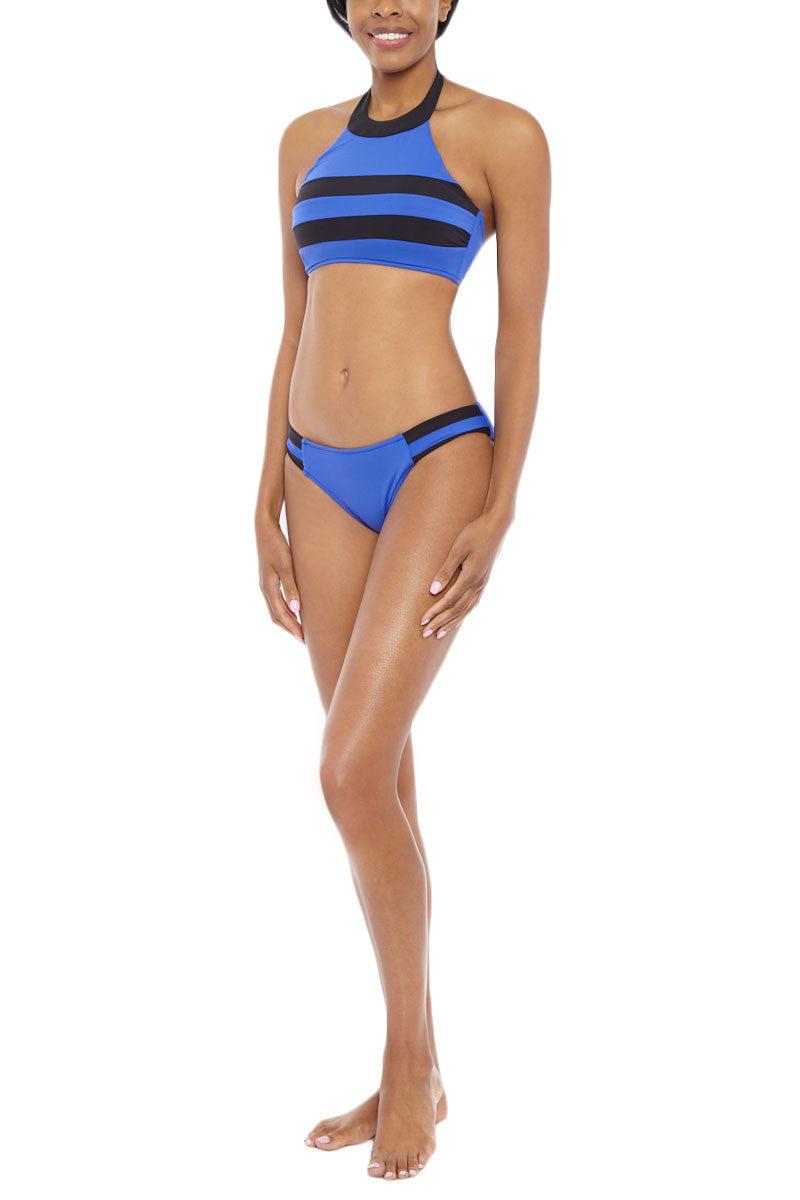 SEAFOLLY Block Party Spliced Bi-Color Side Stripe Bikini Bottom - Blue Ray/Black Bikini Bottom | Blue Ray| Seafolly Block Party Spliced Bikini Bottom