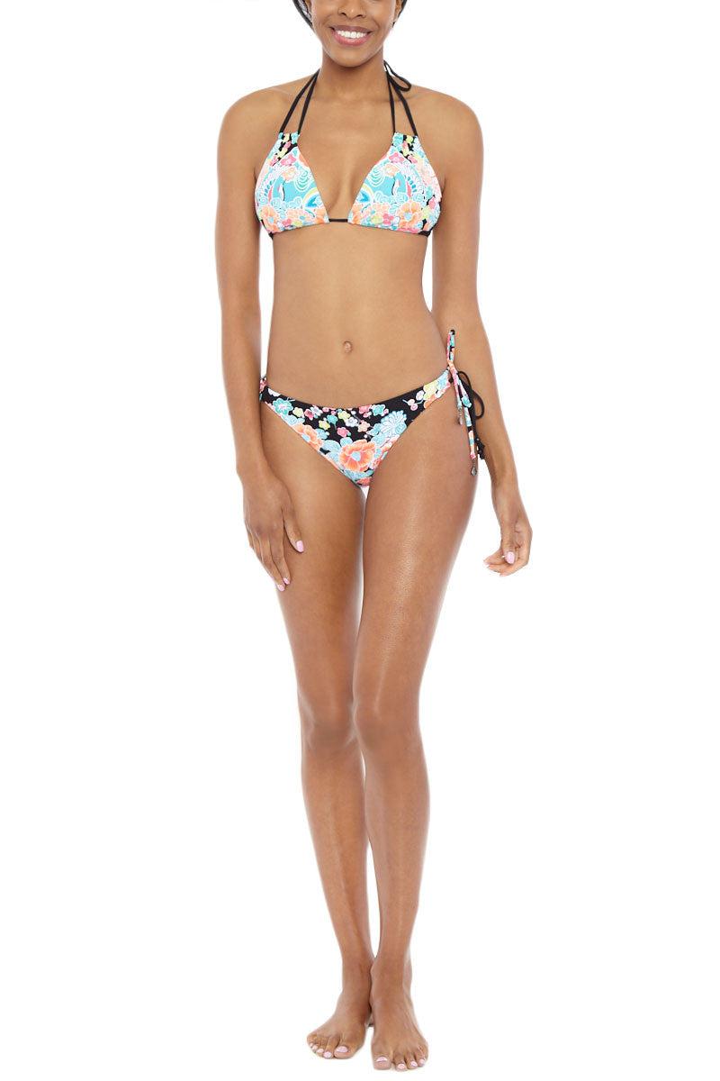 SEAFOLLY Kimono Rose Moderate Tie Side Bikini Bottom - Black & Rose Bikini Bottom | Black & Rose| Seafolly Kimono Rose Tie Side Bikini Bottom