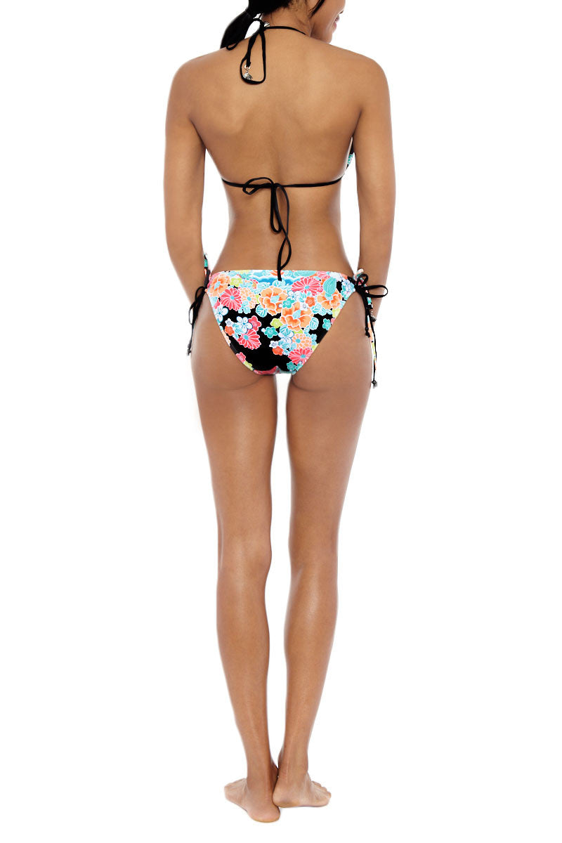 SEAFOLLY Kimono Rose Tie Side Bottom Bikini Bottom | Black & Rose| Seafolly Kimono Rose Tie Side Bikini Bottom