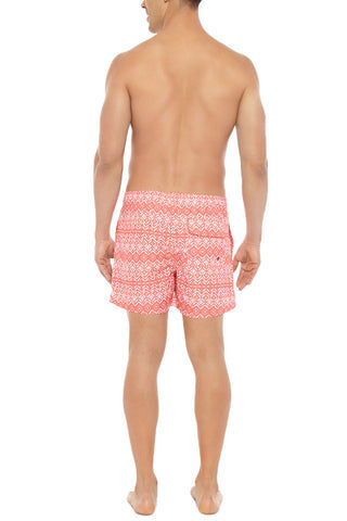 BIKINI.COM Aztec Print Mid Length Swim Trunks (Men's) Promo | Orange| Bikini.com Aztec Print Swim Shorts