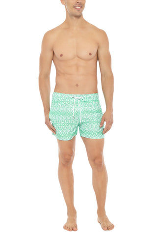 BIKINI.COM Aztec Print Mid Length Swim Trunks (Men's) Promo | Green| Bikini.com Aztec Print Swim Shorts