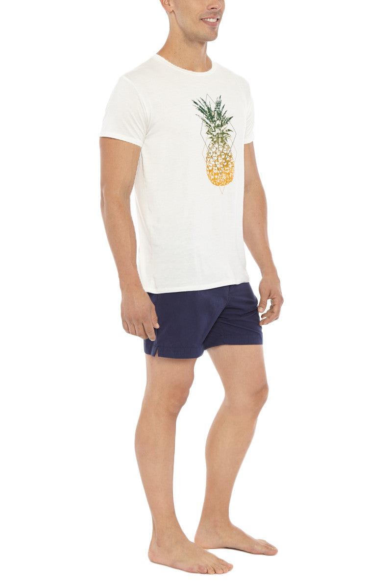 Bikini.com Pineapple T-Shirt (Men's) Mens Top   Pineapple  Bikini.com Pineapple T-Shirt (Men's).  Side View. 100% Bamboo. Ultra Soft. Pineapple pop art on center front.
