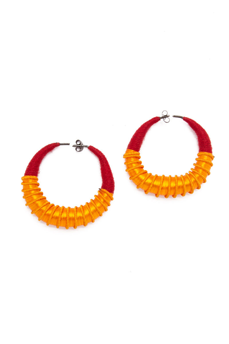 TEGAA Silla Hoops Large Jewelry | Red/Gold| TEGAA Silla Hoops Large