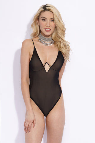 VERONIKA PAGAN Venom One Piece One Piece | Pitch Dark| Veronika Pagan Venom One Piece Front View Sexy Plunging Deep-V One Piece Swimsuit Black Mesh Half Cup Supportive Curved Underwire Adjustable Shoulder Straps High Cut Leg Brazilian Rear Cut Cheeky Coverage