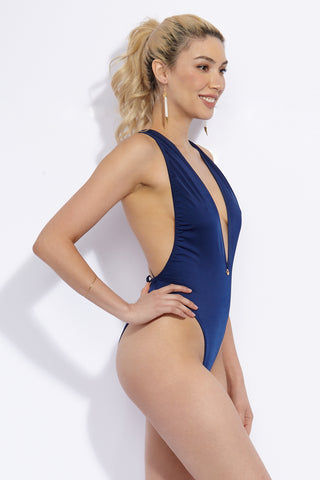 TOWERS SWIMWEAR Deep 90's Criss Cross Back High Cut One Piece Swimsuit - Navy Blue One Piece | Navy Blue| Towers Swimwear Deep 90's Criss Cross Back High Cut One Piece Swimsuit - Navy Blue Deep-V Neckline Cross-backed lacing High cut leg Lycra with UV protection Side View