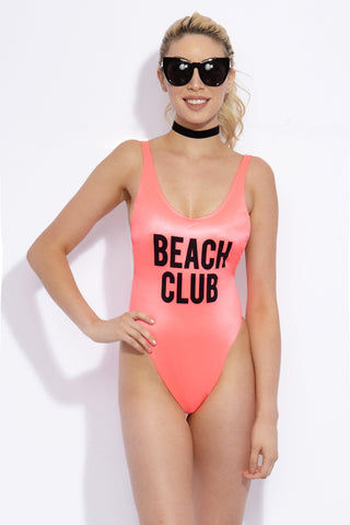 TOWERS SWIMWEAR Beach Club Tank High Cut One Piece Swimsuit - Neon Pink One Piece | Neon Pink| Towers Swimwear Beach Club Tank High Cut One Piece Swimsuit - Neon Pink Scoop Neckline Mid scoop back High cut leg Removable triangular cups Thick straps Inner lining Lycra with UV protection Front View