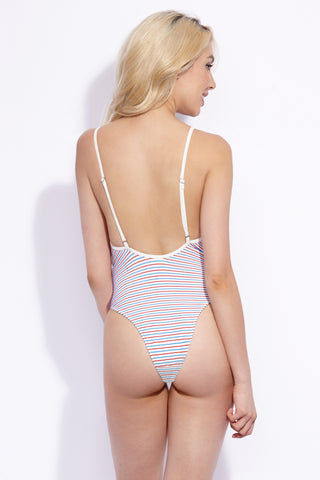 SOLID & STRIPED The Chelsea Color Block High Cut One Piece Swimsuit - Multi Breton Stripe Print One Piece | Multi Breton Stripe Print|Solid & Striped The Chelsea Color Block High Cut One Piece Swimsuit - Multi Breton Stripe Print  Color block adjustable shoulder straps high cut leg thong coverage Back View