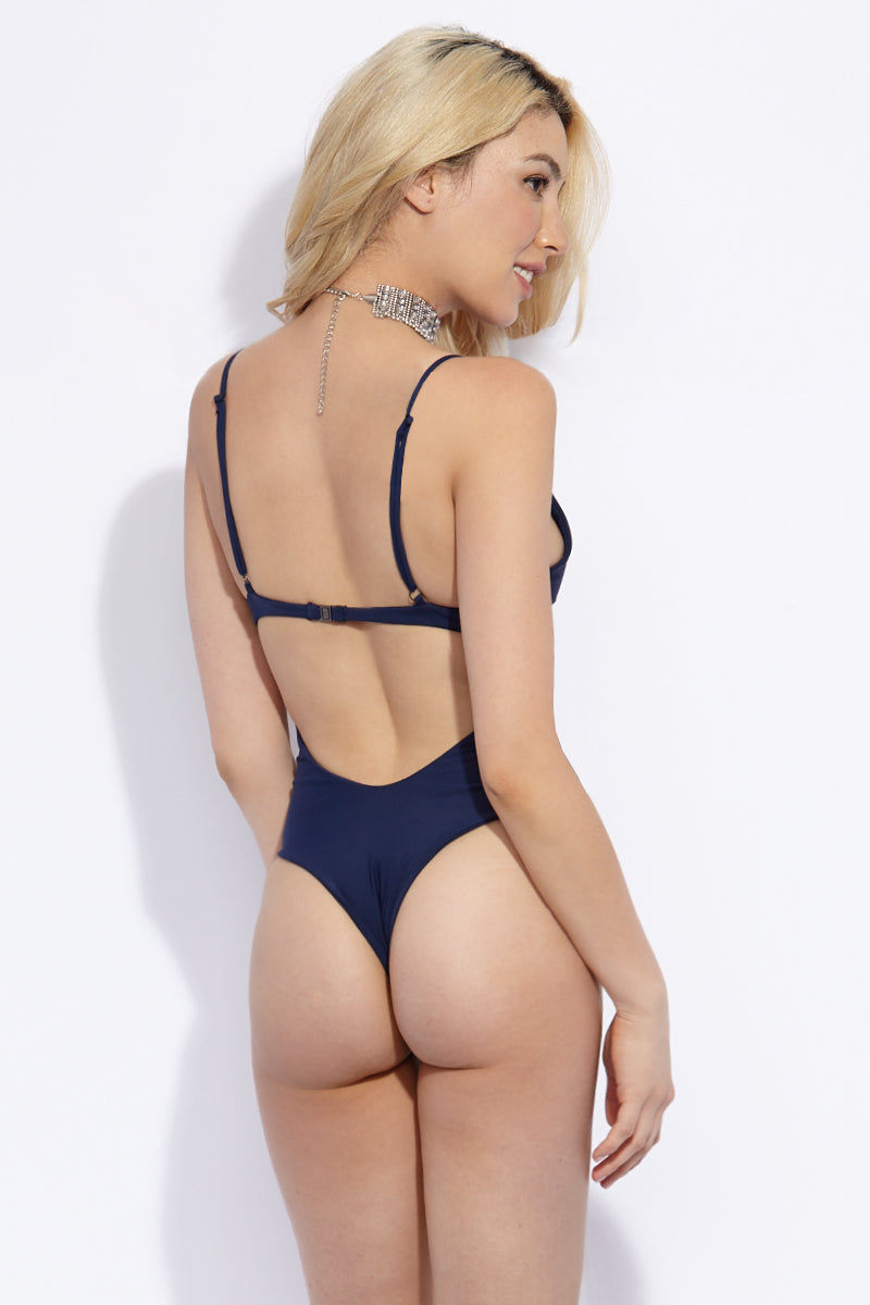 VERONIKA PAGAN Venom One Piece One Piece | Stardust| Veronika Pagan Venom One Piece Back View Navy Blue One Piece Swimsuit Half Underwire Cups Curved Wiring High Cut Leg Adjustable Shoulder Straps Back Clasp Closure Brazilian Cheeky Coverage