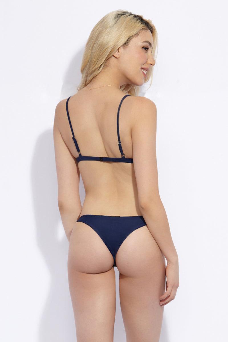 VERONIKA PAGAN Basico Bikini Bottom Bikini Bottom | Stardust| Veronika Pagan Basico Bikini Bottom Back View Navy Blue Skimpy Bikini Bottom Reversible to Dusty Rose Pink Low-Rise Cut High Cut Leg Thin Side Straps Brazilian Cheeky Coverage