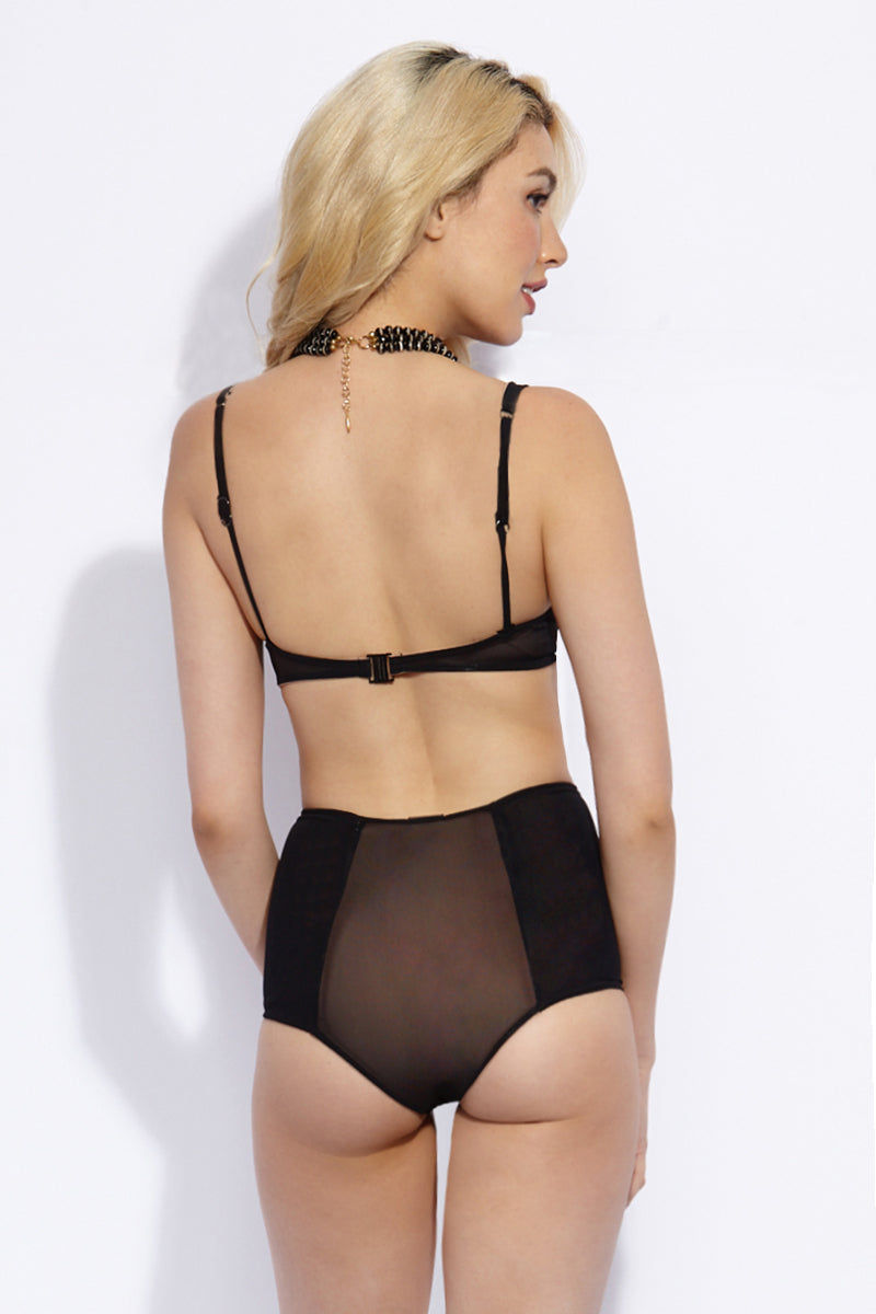 VERONIKA PAGAN Swell Bikini Top Bikini Top | Pitch Dark| Veronika Pagan Swell Bikini Top Back View Black Mesh Modern U-Shaped Underwire Bikini Top Adjustable Shoulder Straps Wide Underbust Band Fully Lined