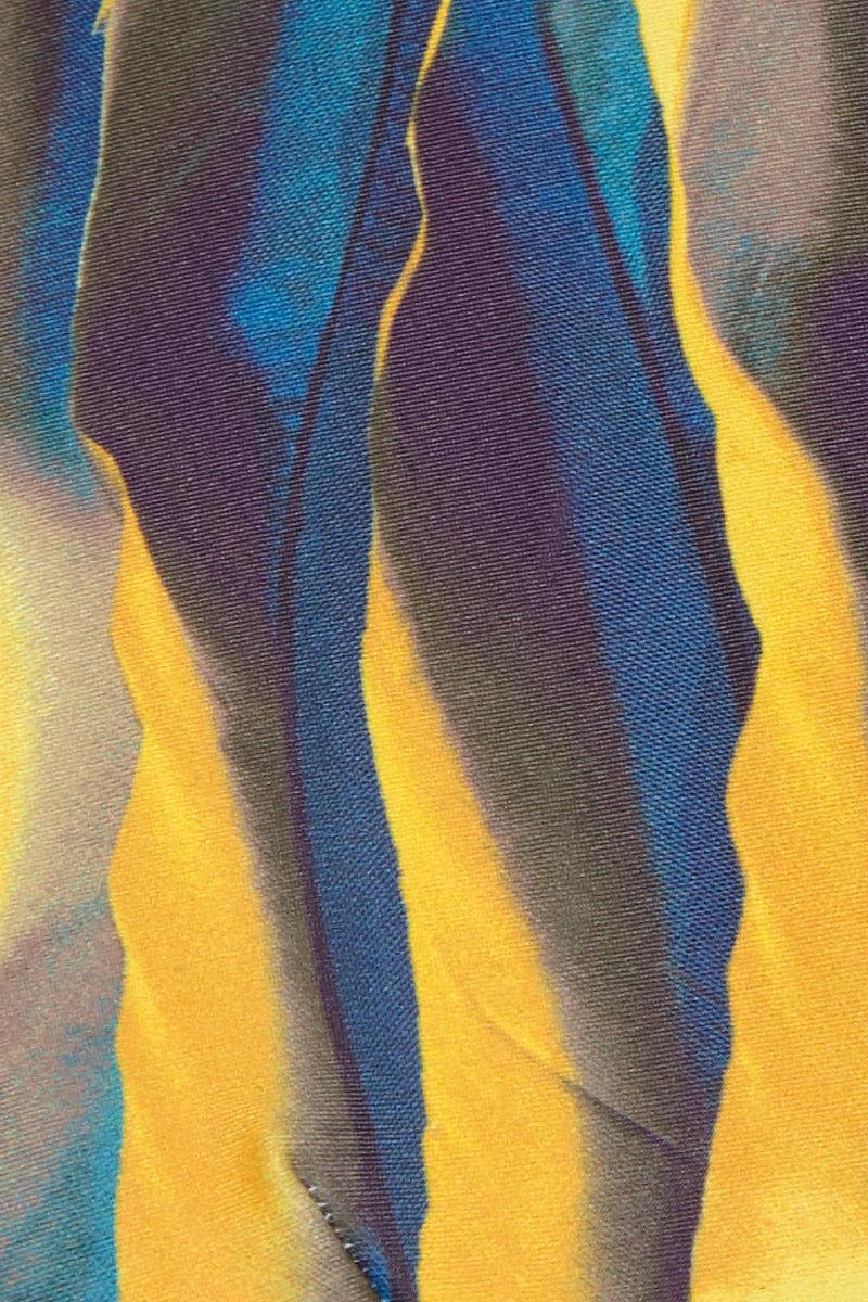 ANDREA IYAMAH Touca High Cut High Waist Bikini Bottom - Yellow & Blue Abstract Print Bikini Bottom | Yellow & Blue Abstract Print| Andrea Iyamah Touca High Cut High Waist Bikini Bottom - Yellow & Blue Abstract Print Vibrant Multicolor Abstract Print High-Waisted Bikini Bottom High Cut Leg Cheeky to Moderate Coverage Front View