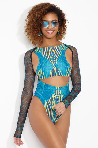 ANDREA IYAMAH Maya One Piece One Piece | Maya Print| Andrea Iyamah Maya One Piece Front View Vibrant Multicolor One Piece Swimsuit Midsection Shoulder and Back Cut Outs Long Sleeves African-Inspired Digital Print High Cut Leg High-Waisted Cheeky to Moderate Coverage