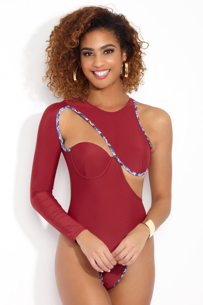 ANDREA IYAMAH Lexy One Piece One Piece | Lexy Print| Andrea Iyamah Lexy One Piece Front View Sculptural Burgundy One Piece Swimsuit Asymmetrical Single Long Sleeve Cut Outs on Chest and Back Underwire Molded Bust Cups High Cut Leg Cheeky to Moderate Coverage