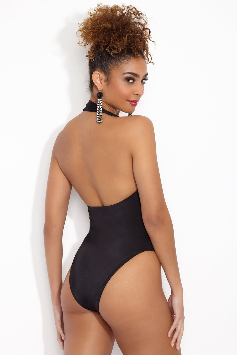 NORMA KAMALI Criss Cross Halter Mio One Piece - Black One Piece | Black| Norma Kamali Criss Cross Halter Mio One Piece Back View Thick Halter Neck Open Front Cut Out  Criss Cross Front  Fuller Back  High Cut Leg  Cheeky-Moderate Coverage high-leg crossover mio