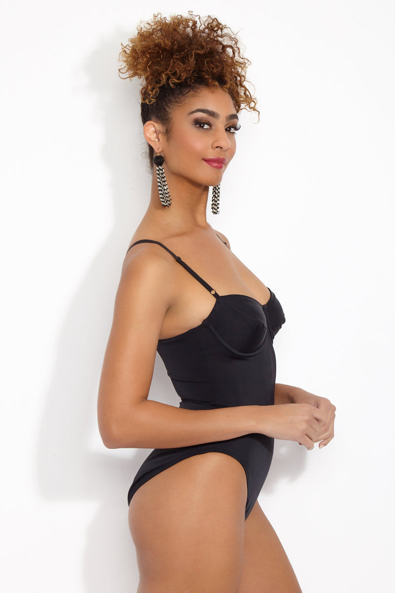 NORMA KAMALI Underwire Mio One Piece - Black One Piece | Black| Norma Kamali Underwire Mio One Piece Side View Underwire One Piece  Built in Cups Adjustable Shoulder Straps High Cut Leg Moderate-Full Coverage