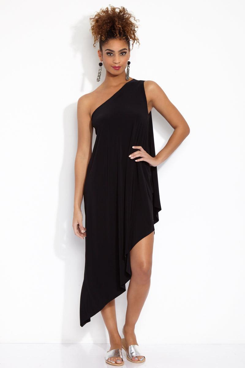 NORMA KAMALI One Shoulder Diagonal Tunic - Black Dress   Black  One Shoulder Diagonal Tunic Front View